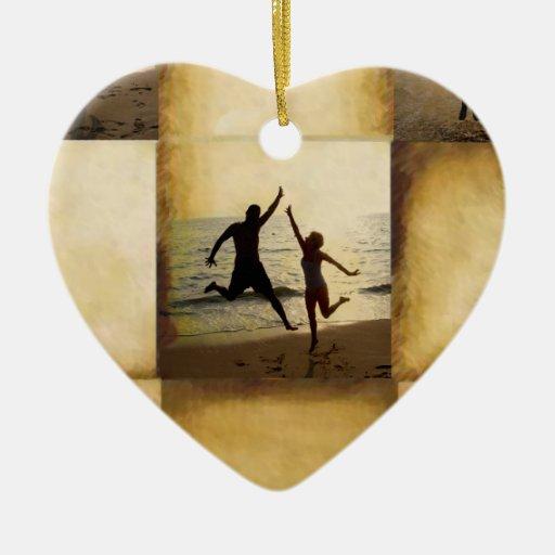 Repita la alegría que suena adorno de cerámica en forma de corazón