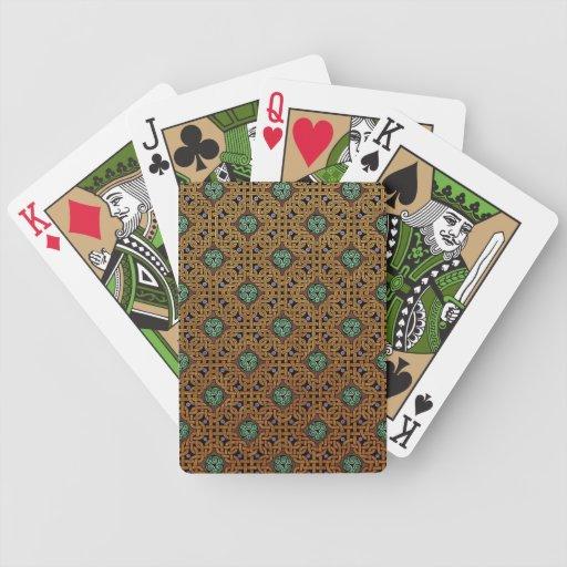 Repitiendo los naipes célticos del nudo (oro/verde baraja de cartas