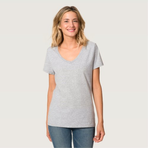 Replace Image Ladies Light Colored V_Neck T_Shirt