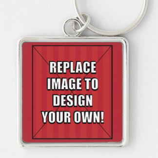 Replace Image to Design Your Own! Silver-Colored Square Keychain