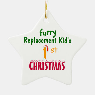 Replacement Kid's 1'st CHRISTMAS Double-Sided Star Ceramic Christmas Ornament