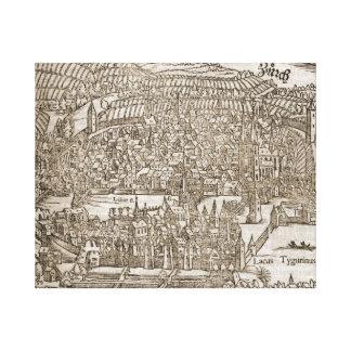 Replica Antique map of Zurich 1552 Gallery Wrap Canvas