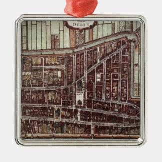 Replica city map of Delft 1649 Metal Ornament