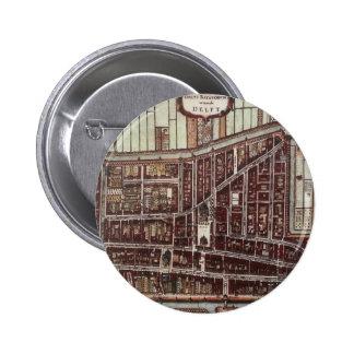 Replica city map of Delft 1649 Pinback Button