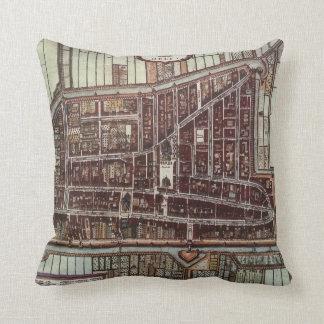 Replica city map of Delft 1649 Throw Pillow