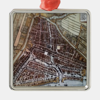 Replica city map of Rotterdam 1652 Metal Ornament