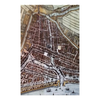 Replica city map of Rotterdam 1652 Stationery