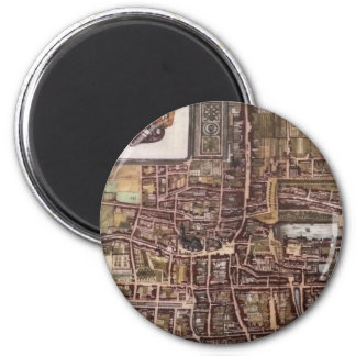 Replica city map of The Hague 1649 2 Inch Round Magnet