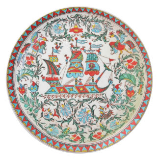 Replica Folk Art Pottery Greek tall ship Dinner Plate