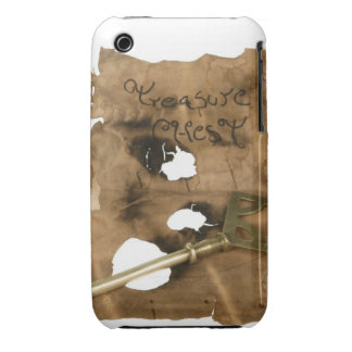 Replica of tattered pirate scroll with key iPhone 3 cover