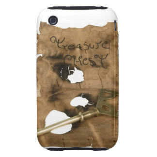 Replica of tattered pirate scroll with key iPhone 3 tough cases