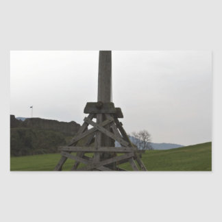 Replica of wooden trebuchet in Scotland Rectangular Stickers