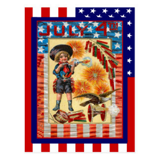 Replica Vintage 4th of July, Boy and toy cannon Postcard