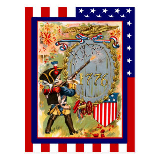 Replica Vintage 4th of July, Boy soldier uniform Postcard