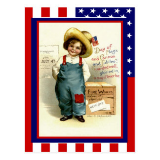 Replica Vintage 4th of July, Boy with fireworks Postcard