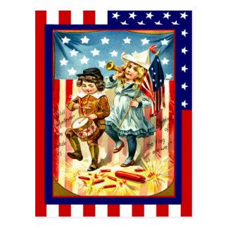 Replica Vintage 4th of July, children celebrating Postcard