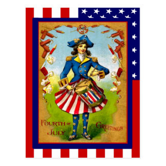 Replica Vintage 4th of July Drummer girl Postcards