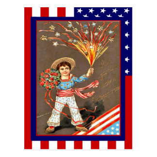 Replica Vintage 4th of July,Flowers firecrackers Postcard