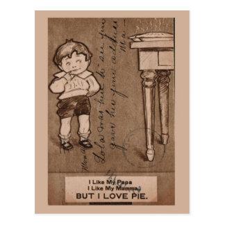 "Replica Vintage Boy eating pie, ""I love pie"" Post Card"