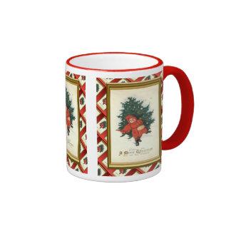 Replica Vintage Christmas, Boy with a tree Ringer Mug