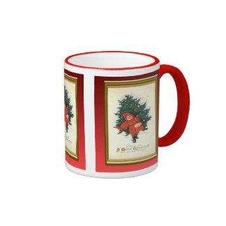 Replica Vintage Christmas, Boy with tree Ringer Mug