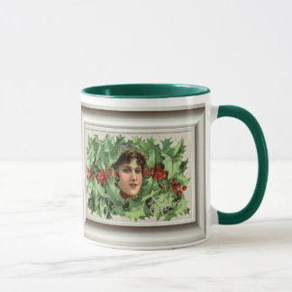 Replica Vintage Christmas, Deco lady amonst holly Mug