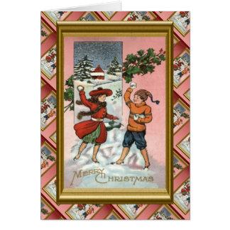 Replica Vintage Christmas, Kids snowball fight Card