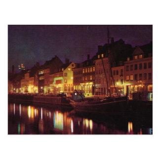 Replica Vintage  Denmark, Copenhagen by night Post Cards