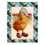 Replica Vintage Easter card, Chick with clogs Postcard