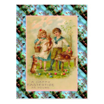 Replica Vintage Easter card, Children and eggs Postcard