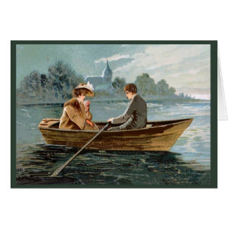 Replica Vintage image ,Couple ain a boat Card