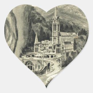 Replica Vintage image Lourdes, 1895 Pilgrimage Heart Sticker