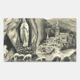 Replica Vintage image Lourdes, 1895 Pilgrimage Rectangular Sticker