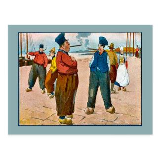 Replica Vintage postcard, Dutch people on the quay Postcard