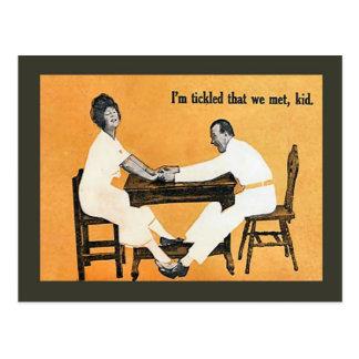 Replica Vintage postcard, I'm tickled we met, kid Postcard