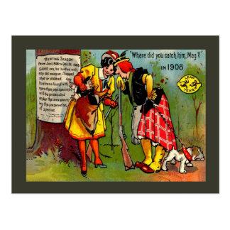 Replica Vintage postcard, Leap year 1908 Postcard