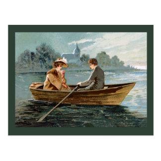 Replica Vintage postcard, Lovers in a boat Postcard