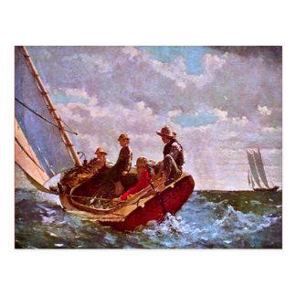 Replica Vintage sailing dinghy in open sea Postcard