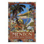 Replica Vintage travel, Menton French Riviera Poster
