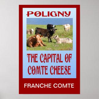 Replica Vintage travel, Poligny, Comte Cheese Poster
