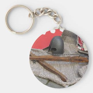 Replicas of medieval helmets , crossbows , shields keychain