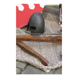 Replicas of medieval helmets , crossbows , shields stationery