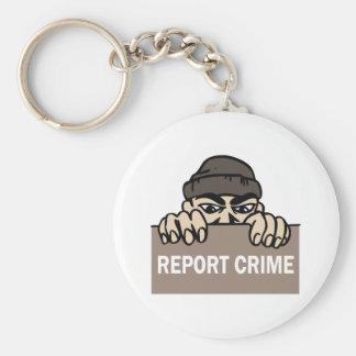 REPORT CRIME BASIC ROUND BUTTON KEYCHAIN