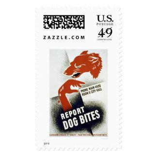 Report Dog Bites 1941 WPA Postage Stamp