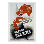 Report Dog Bites 1941 WPA Poster