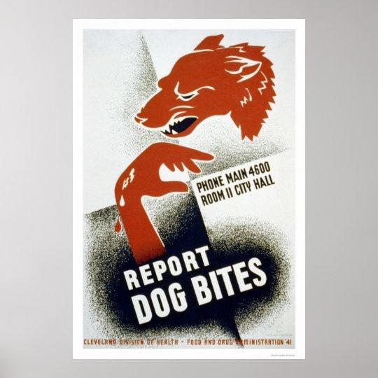 Report Dog Bites 1941 WPA Poster