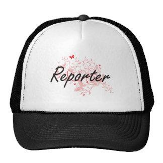 Reporter Artistic Job Design with Butterflies Trucker Hat
