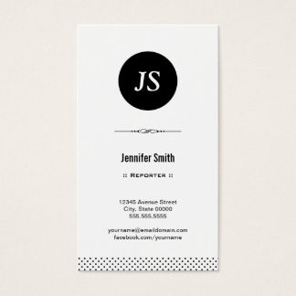 Reporter - Clean Black White Business Card