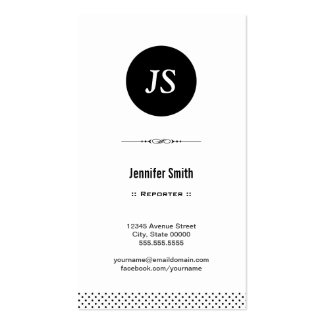 Reporter - Clean Black White Double-Sided Standard Business Cards (Pack Of 100)