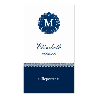 Reporter Elegant Blue Lace Monogram Double-Sided Standard Business Cards (Pack Of 100)